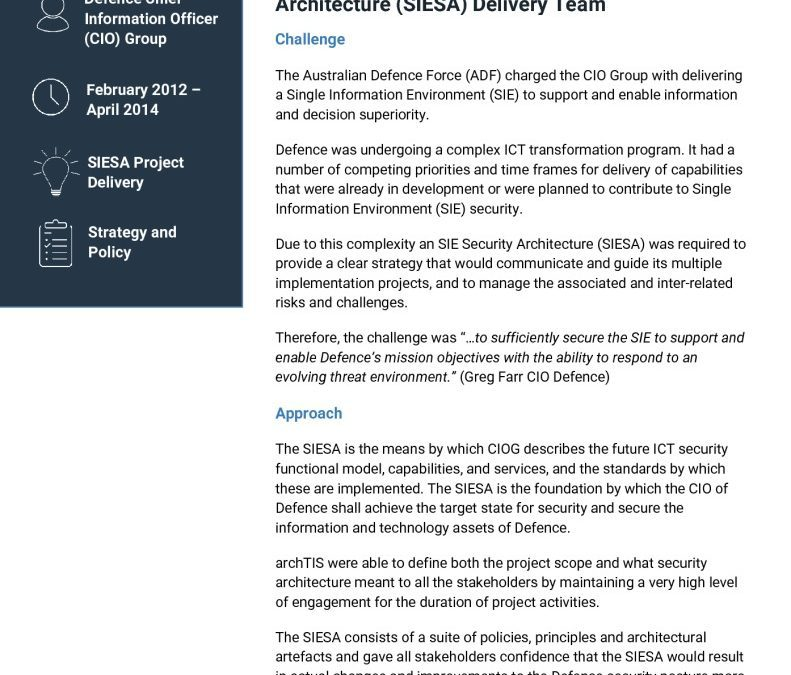Case Study: Architecting a Single Information Environment Security Architecture (SIESA)