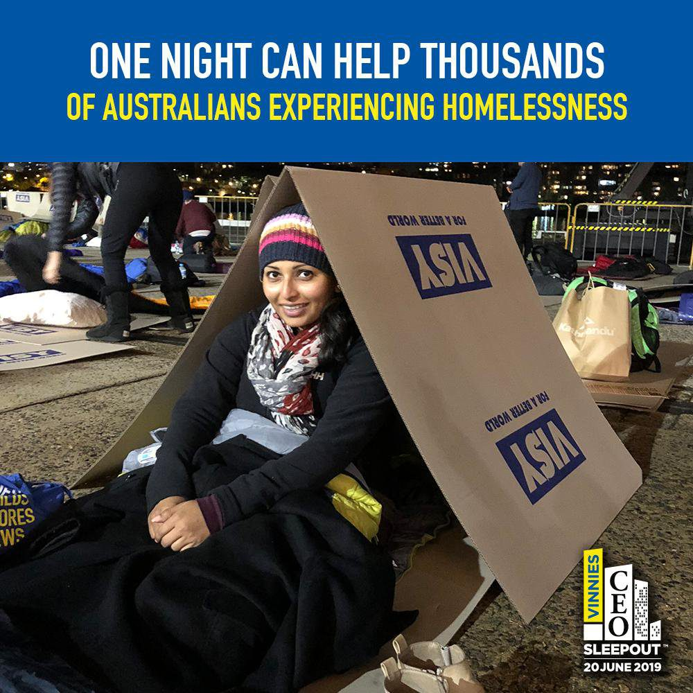 One night can help thousands of Australians experiencing homelessness.Woman smiling.